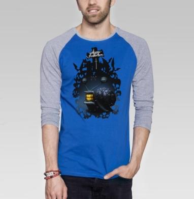 Космо-улитка - Футболка мужская с длинным рукавом синий / серый меланж, насекомые, Популярные