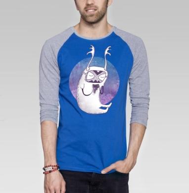 Ночной музыкант - Футболка мужская с длинным рукавом синий / серый меланж, музыка, Популярные