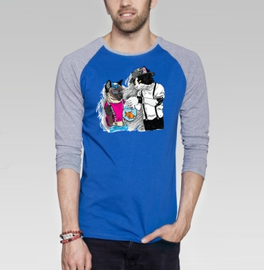Подарок для подружки - Футболка мужская с длинным рукавом синий / серый меланж, киты, Популярные