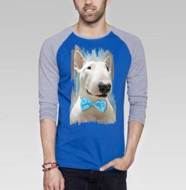 Истинный джентльмен  - Футболка мужская с длинным рукавом синий / серый меланж, собаки, Популярные