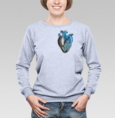 Cвитшот женский, толстовка без капюшона  серый меланж - Космический кит
