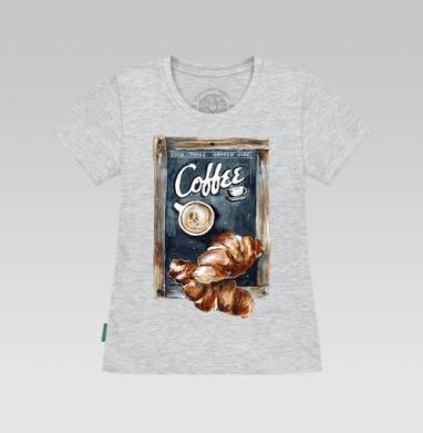 Футболка женская серый меланж - Кофе с круассанами
