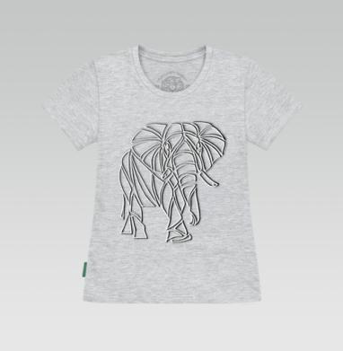 Футболка женская серый меланж - Слон