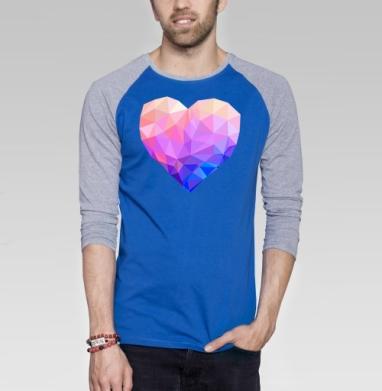 Геометрия любви - Футболка мужская с длинным рукавом синий / серый меланж, любовь, Популярные