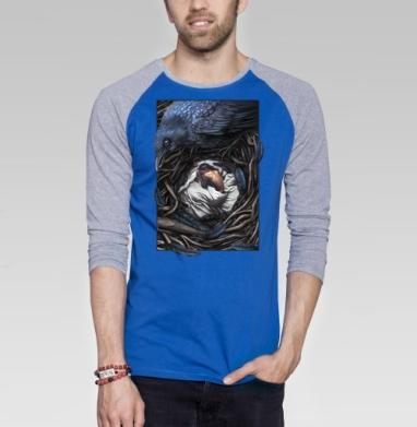 Ворон-страж - Футболка мужская с длинным рукавом синий / серый меланж, сказки, Популярные