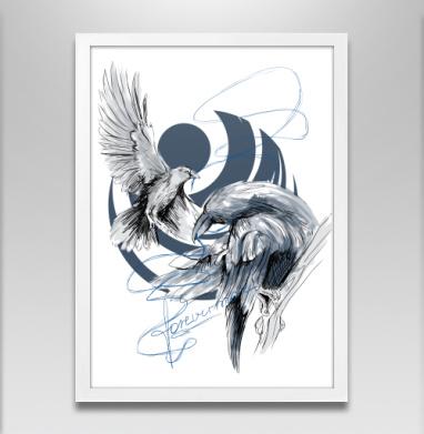 Вороны навсегда - Постер в белой раме, серый
