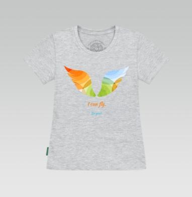 Футболка женская серый меланж - I can fly. Do you?