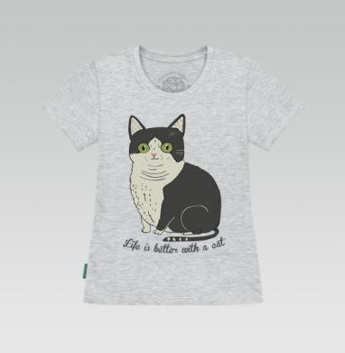 Футболка женская серый меланж - Life is better with a cat