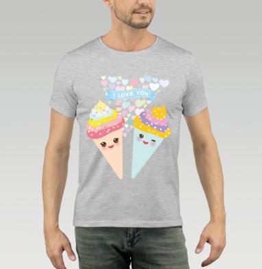 Футболка мужская серый меланж 200гр - Мороженое Парные футболки для влюбленных (муж.)