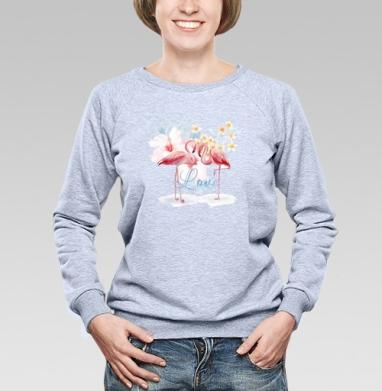Влюбленные фламинго - Купить детские свитшоты с птицами в Москве, цена детских свитшотов с птицами  с прикольными принтами - магазин дизайнерской одежды MaryJane