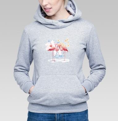 Влюбленные фламинго - Купить детские толстовки с птицами в Москве, цена детских толстовок с птицами  с прикольными принтами - магазин дизайнерской одежды MaryJane