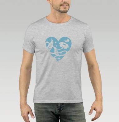 Футболка мужская серый меланж 200гр - Доброе сердце
