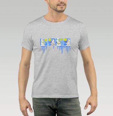 Футболка мужская серый меланж - Снеговик