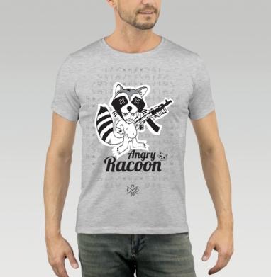 Футболка мужская серый меланж 200гр - Racoon