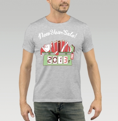 Футболка мужская серый меланж 200гр - Sale