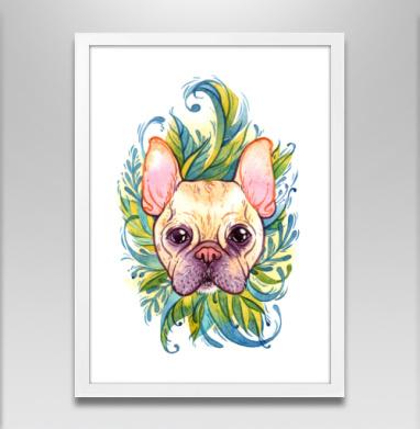 Акварельный бульдог - Постер в белой раме, собаки