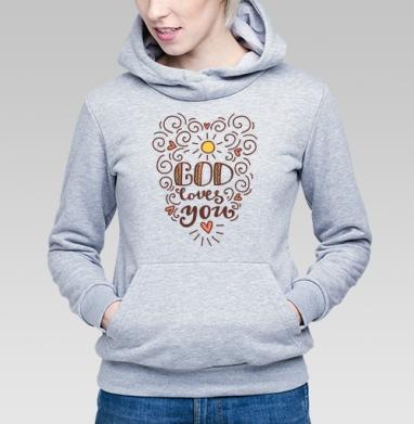 Бог  любит тебя - Купить детские толстовки с надписями в Москве, цена детских толстовок с надписями  с прикольными принтами - магазин дизайнерской одежды MaryJane