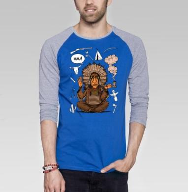 Вождь индейцев - Футболка мужская с длинным рукавом синий / серый меланж, индеец, Популярные