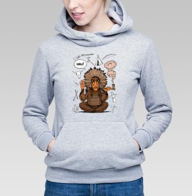 Вождь индейцев, Толстовка Женская серый меланж 340гр, теплая