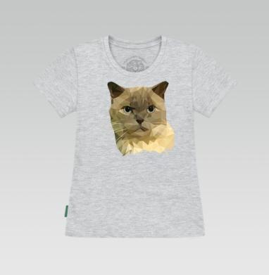 Футболка женская серый меланж - Полигональный кот