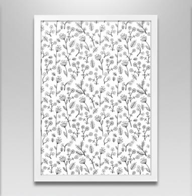 Милые цветочки - Постер в белой раме, текстура