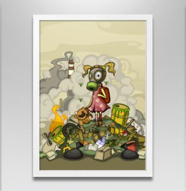 Загрязнение - Постер в белой раме, дым