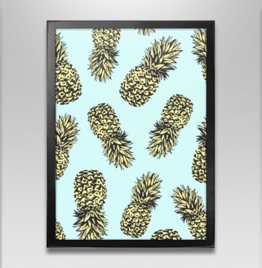 Ананасы попарт - Постер в чёрной раме, фрукты