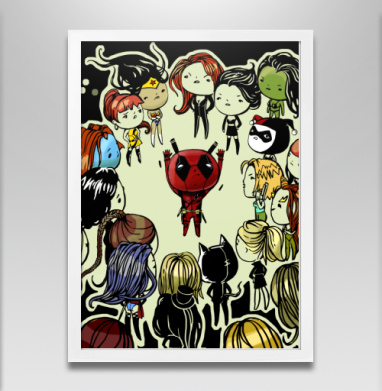 Проблемы супергероев - Постер в белой раме, прикол