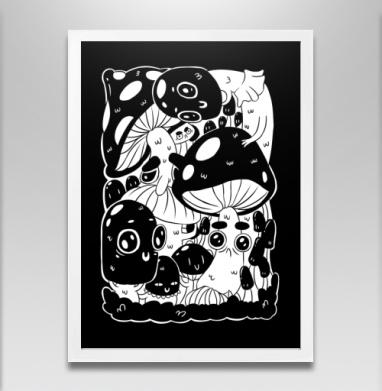 Глазастые грибы - Постер в белой раме, грибы
