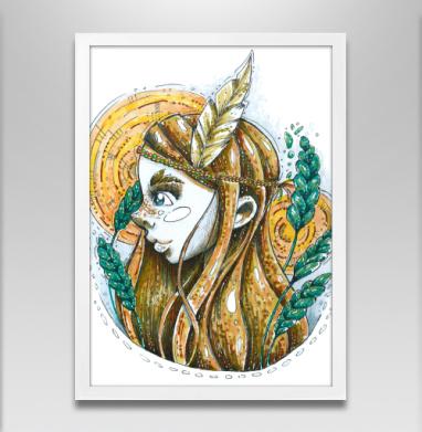 Веснушки - Постер в белой раме, индеец