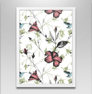 Гибискус и колибри - Постер в белой раме, красота