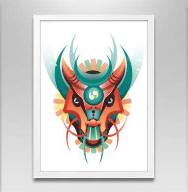 Дракон в геометрическом стиле - Постер в белой раме, лицо
