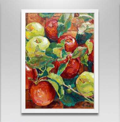 Яблочный спас - Постер в белой раме, живопись