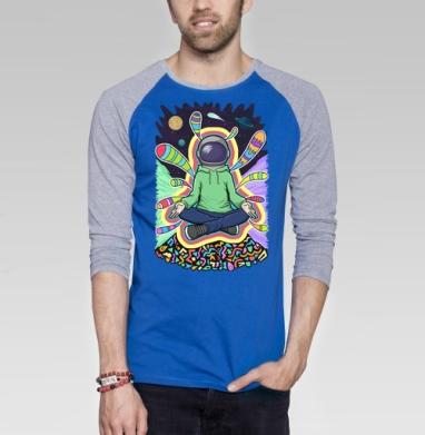 Духовный космонавт - Футболка мужская с длинным рукавом синий / серый меланж, йога, Популярные