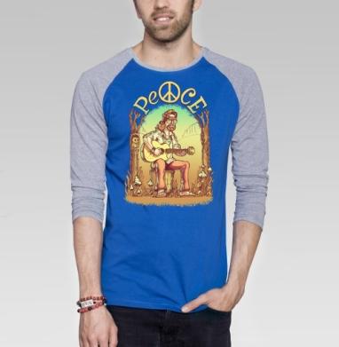 Старый лесной хиппи - Футболка мужская с длинным рукавом синий / серый меланж, деревья, Популярные