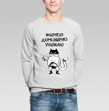 Жирнею, доминирую, унижаю - Купить мужские свитшоты с кошками в Москве, цена мужских  с кошками  с прикольными принтами - магазин дизайнерской одежды MaryJane