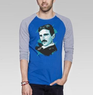 Тесла - Футболка мужская с длинным рукавом синий / серый меланж, графика, Популярные
