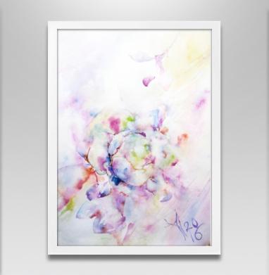 Распускающаяся роза - Постер в белой раме, розы