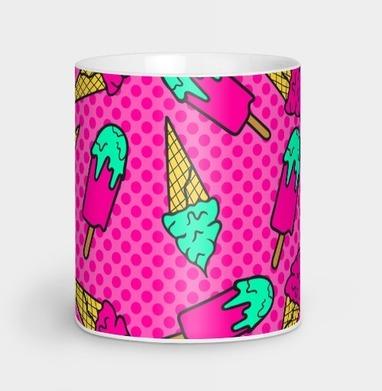 Сочный летний розовый паттерн с мороженым - еда, Новинки