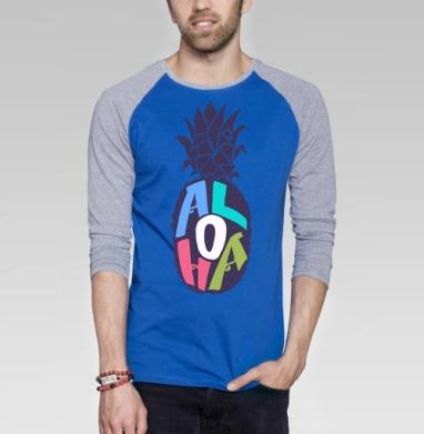 Алоха ананас - Футболка мужская с длинным рукавом синий / серый меланж, лето, Популярные