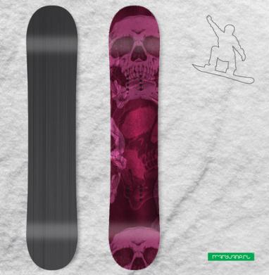 Голодные головы. Розовый - Сплошные наклейки сноуборд c черепами