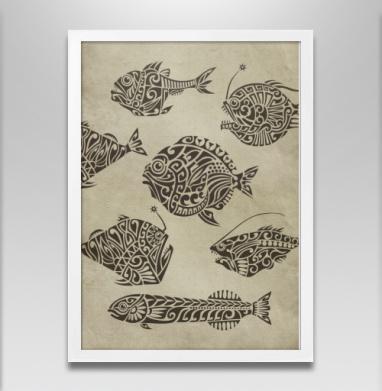 Глубоководные - Постер в белой раме, рыба