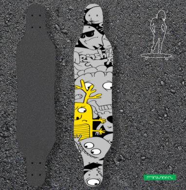 Паттерн из монстриков - Наклейки на лонгборд