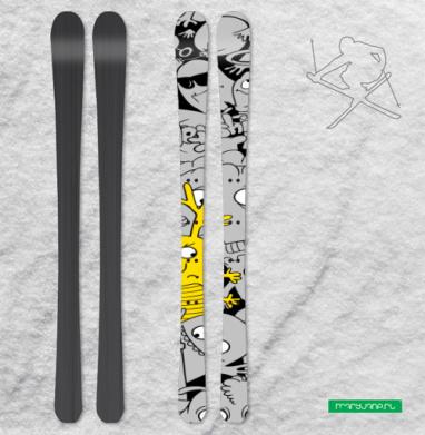 Паттерн из монстриков - Наклейки на лыжи
