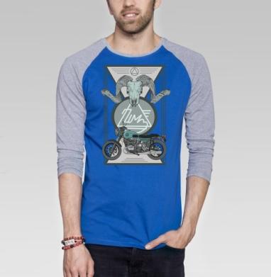 УРАЛ МОТО - Футболка мужская с длинным рукавом синий / серый меланж, серый, Популярные