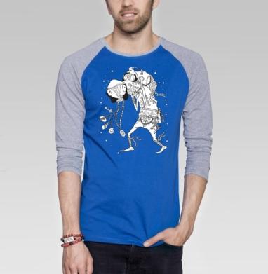 Попутчик - Футболка мужская с длинным рукавом синий / серый меланж, сказки, Популярные