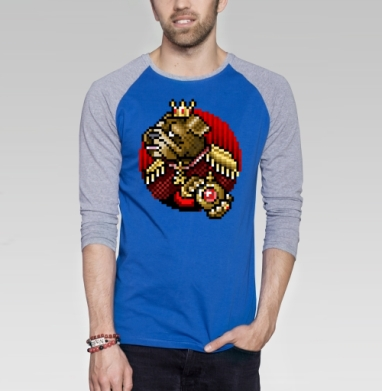 БУЛЬДОГ ЧЕТВЕРТЫЙ - Футболка мужская с длинным рукавом синий / серый меланж, собаки, Популярные