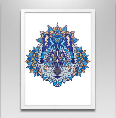 Северный зверь - Постер в белой раме, волк