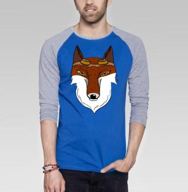 Стимпанк лиса - Футболка мужская с длинным рукавом синий / серый меланж, Хипстер