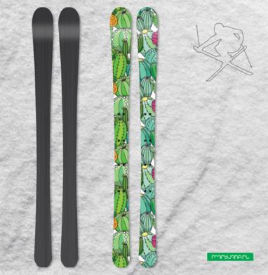 Цветущее поле кактусов - Наклейки на лыжи